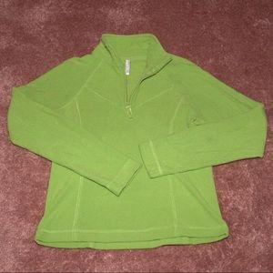 Green quarter zip fleece pullover